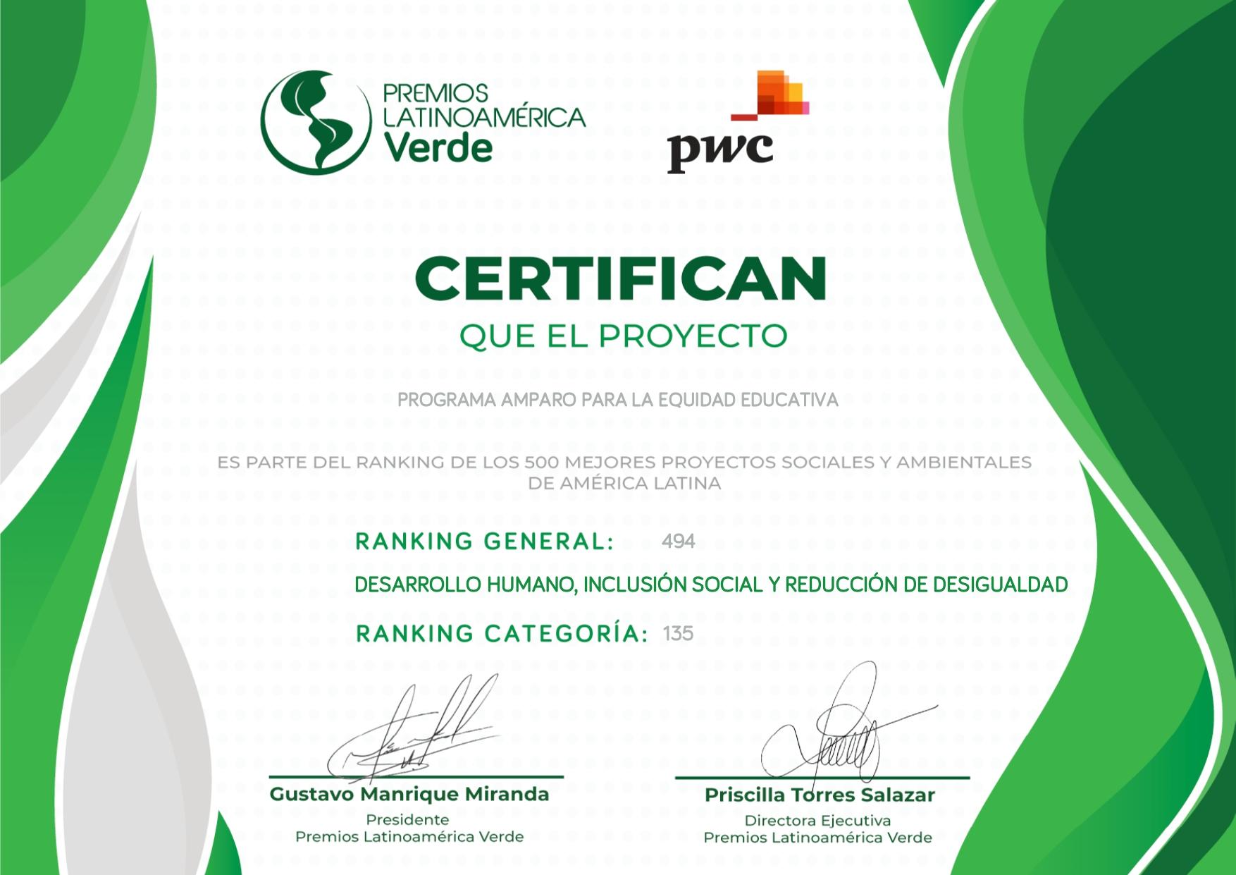 Certificado Premios LV Programa Amparo